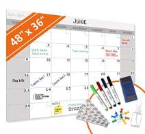 HEA Large Dry Erase Wall Calendar 2020 | Premium New Laminate | Blank Undated, Reusable & Erasable 12 Month Annual Planner | Classroom, Office, Project & Family Schedule (48'' x 36'' Month Calendar)