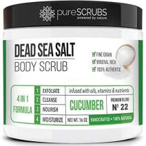 pureSCRUBS Premium Organic Body Scrub Set - Large 16oz CUCUMBER BODY SCRUB - Dead Sea Salt Infused Organic Essential Oils & Nutrients INCLUDES Wooden Spoon, Loofah & Mini Organic Exfoliating Bar