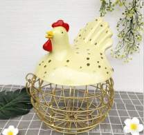 """Landtom Metal Wire Egg Storage Basket with Ceramic Farm Chicken Top and Handles (Golden-w, 9.25""""x 10.25""""x 12"""")"""