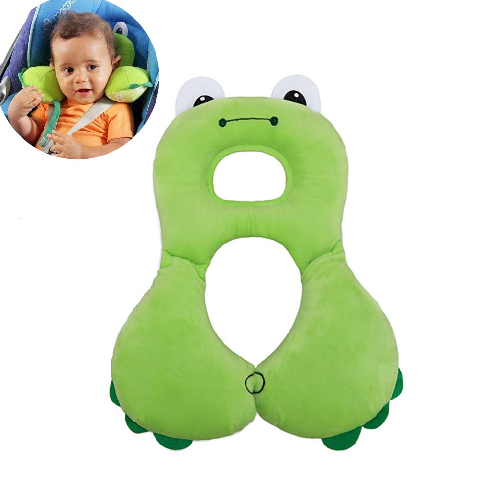Baby Travel Pillow - Baby Neck Support Pillow for Toddlers Car Seat to Protect Baby's Head and Neck - Soft Polyester - Green Frog