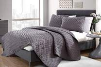 VCNY Home Nina Bedding Collection Luxury Premium Ultra Soft Quilt Coverlet, Comfortable 3 Piece Set, Modern Geometric Design For Home Hotel Decor, Twin, Grey
