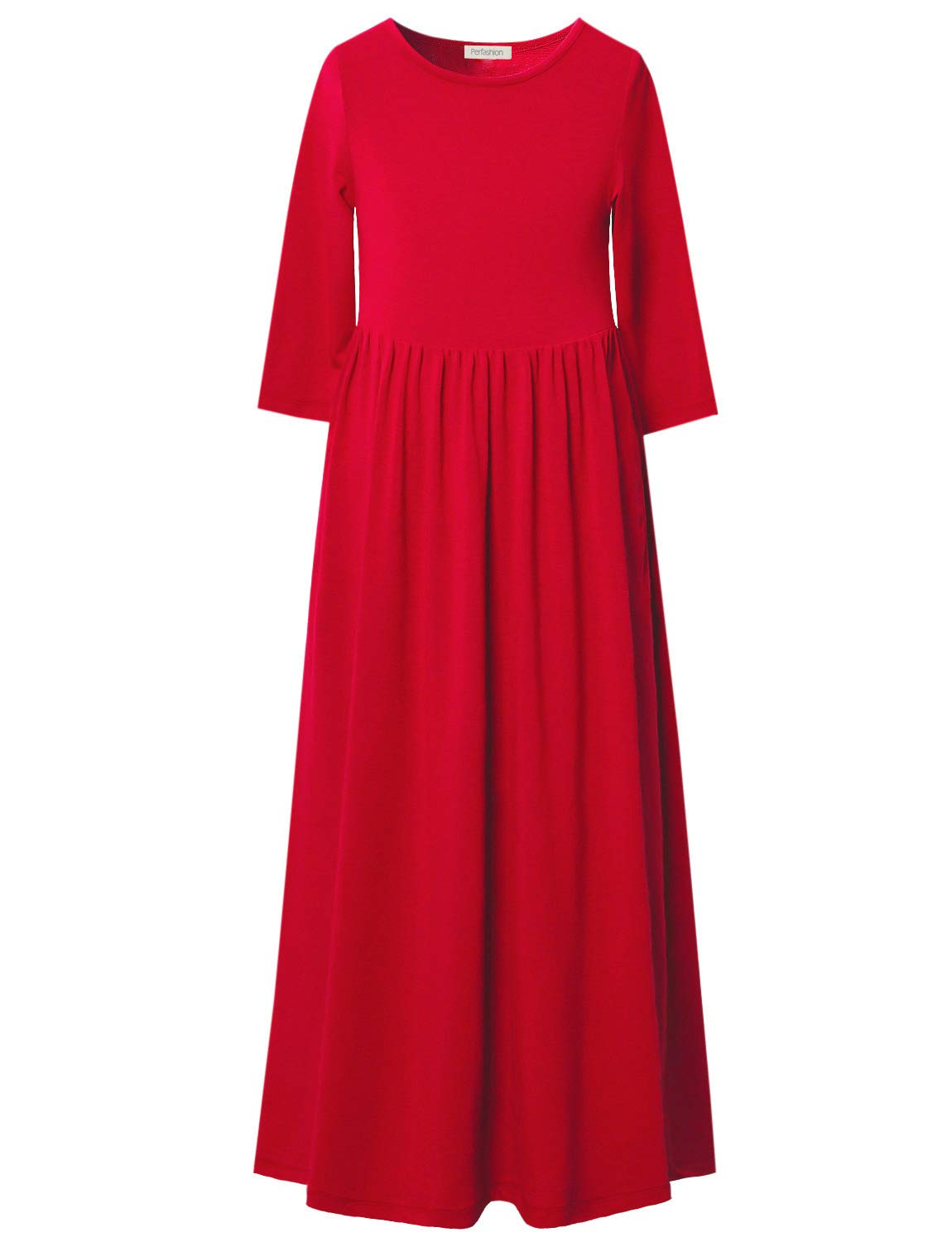 Perfashion Red Maxi Dress for Girls 3/4 Sleeve Pleated Casual Cotton Long Dress with Pockets