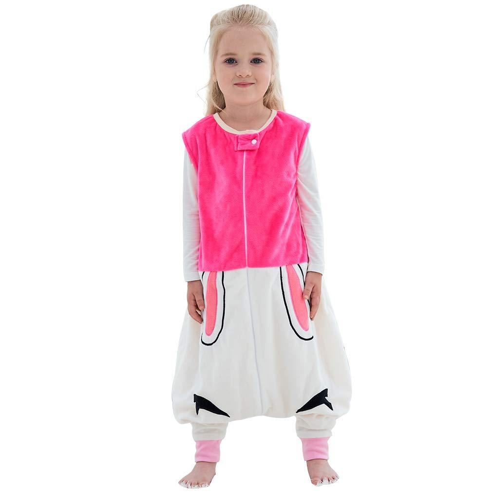 IDGIRLS Unisex Baby Sleeping Bag Spring Wearable Blanket with Legs for Toddler, Rose 1-2T