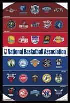 "Trends International NBA League - Logos, 22.375"" x 34"", Black Framed Version"