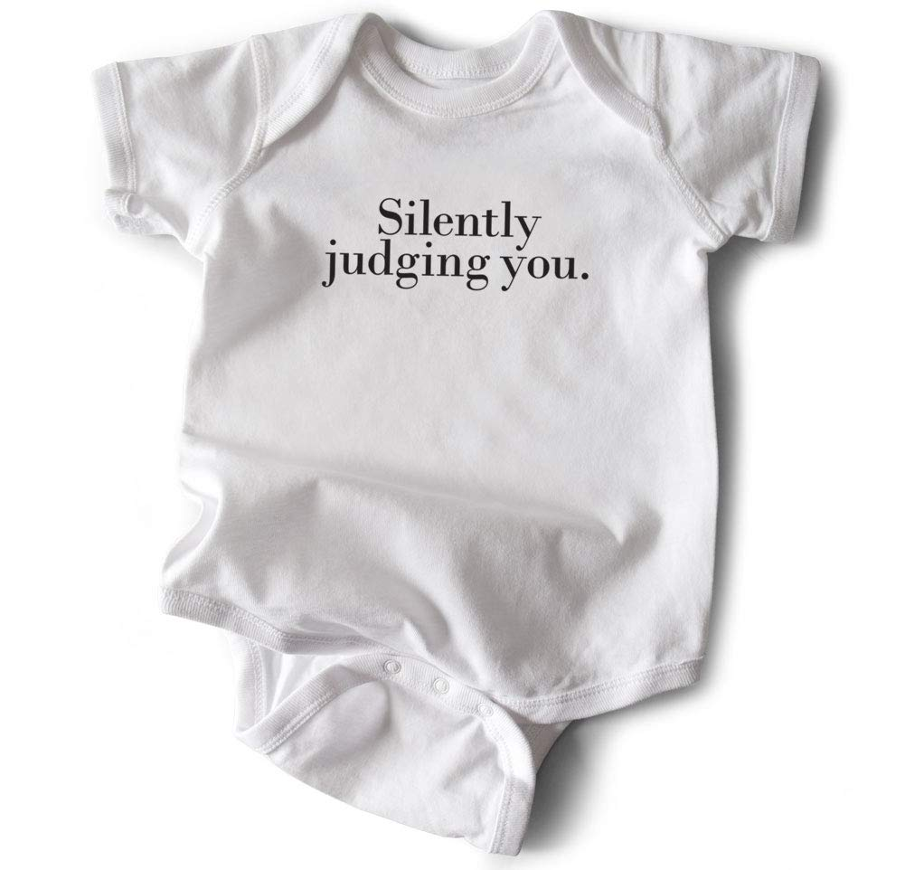 Wrybaby Funny Baby Bodysuit  Silently Judging You  White, 0-6M