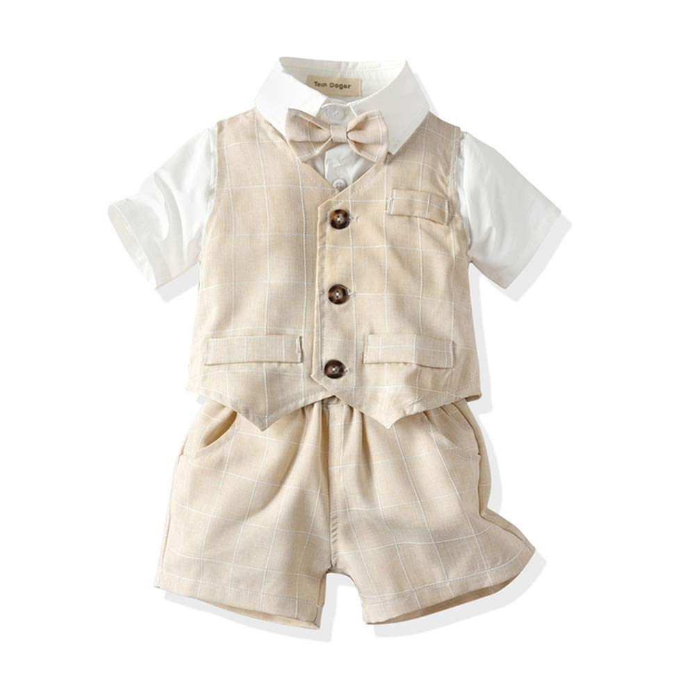 Tem Doger Baby Boys Plaid Button Down Casual Dress Shirt Slim Fit +Vest+Pant Outfits