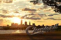 Cleveland, Ohio - Sunrise over Cleveland Sign at Lake Erie Edgewater Park - Photography A-92986 (12x18 Fine Art Print, Home Wall Decor Artwork Poster)
