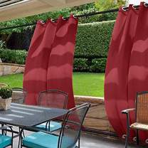 cololeaf Water Repellent Outdoor Decor Panel Grommet at top and Bottom Curtains/Drapes Panels for Patio,Front Porch,Gazebo, Pergola, Cabana, Dock, Beach Home,Red 120W x 96L Inch (1 Panel)