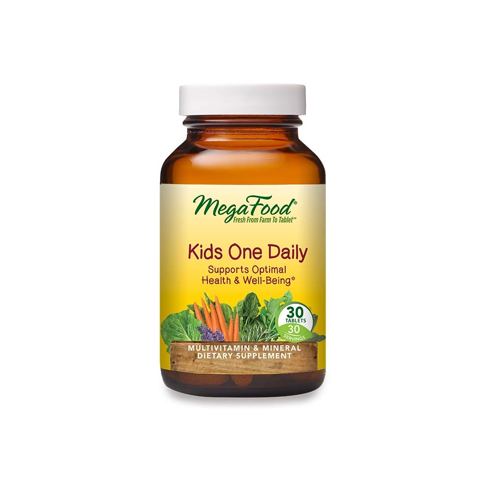 MegaFood, Kids One Daily, Daily Multivitamin and Mineral Dietary Supplement with Vitamins, C, D and Folate, Non-GMO, Vegetarian, 30 Tablets (30 Servings)