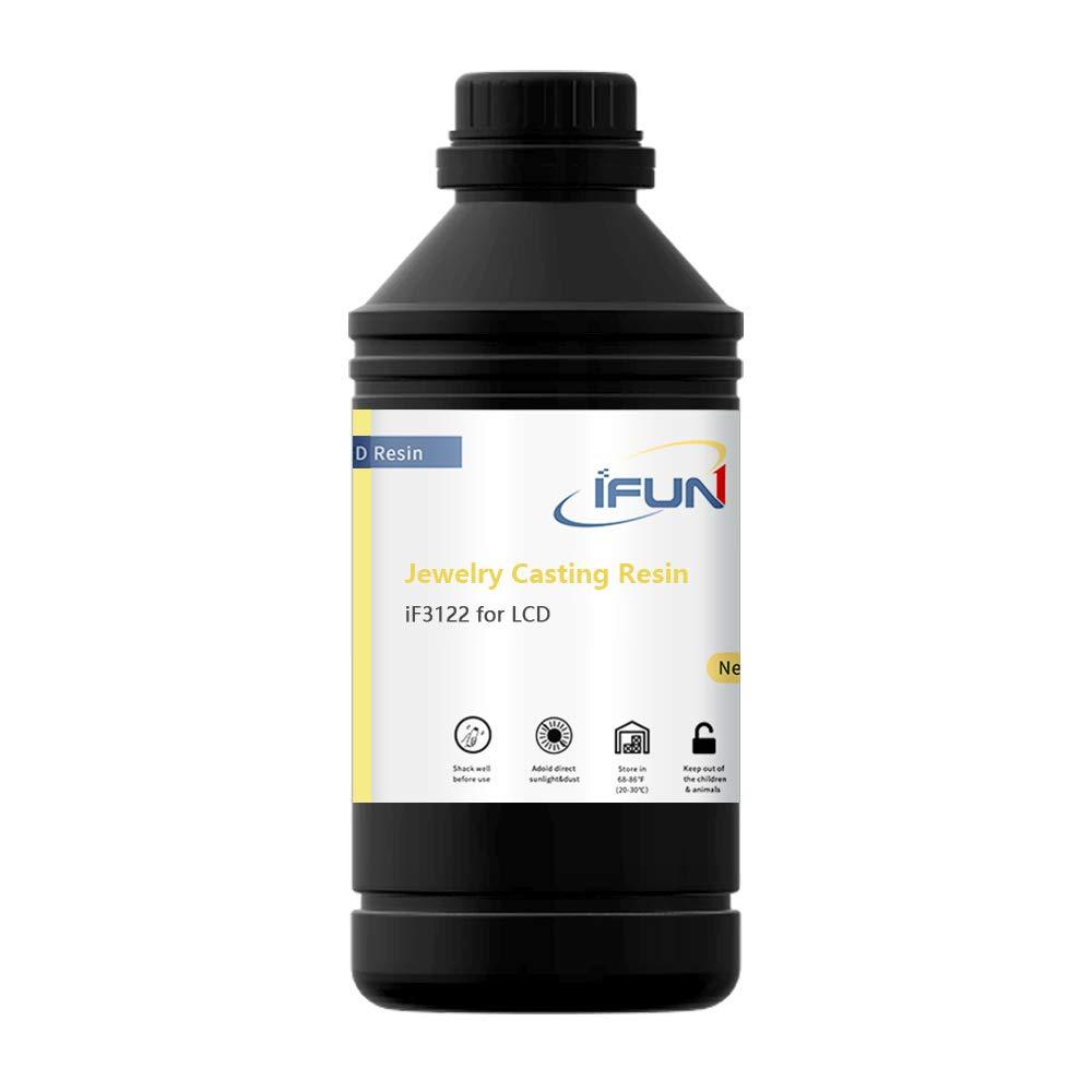 IFUN Jewelry Casting Resin for 405nm LCD 3D Printer JewelCast Lost Wax Cast SLA UV Cure Photosensitive Resin Liquid Red 500g