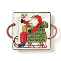 Vietri Old St. Nick Square Handled Platter - Handcrafted Christmas Tableware