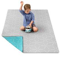 "Baby Play Mat for Infants - Foam Padded Soft Ultra Cushioned Floor Mats Make Ideal Baby & Childrens Mat. Kids 1 Piece playmat (Sky Aqua/Gray Storm, Small 55"" x 39"" x .6"" Thick) by Berry Lane"