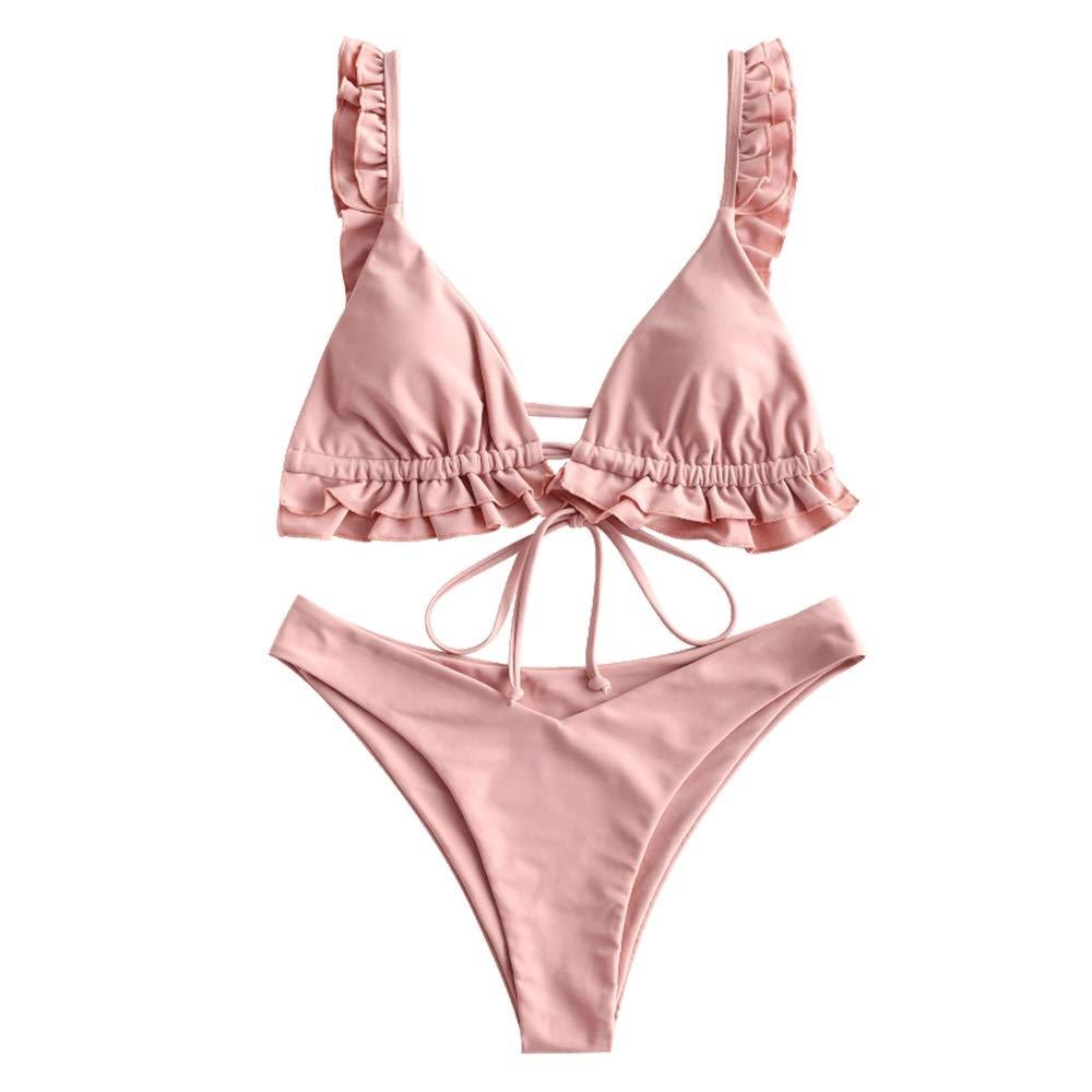ZAFUL Women's Plunging Front Knotted Ruffle Deep V Neck Bralette High Cut Bikini Set