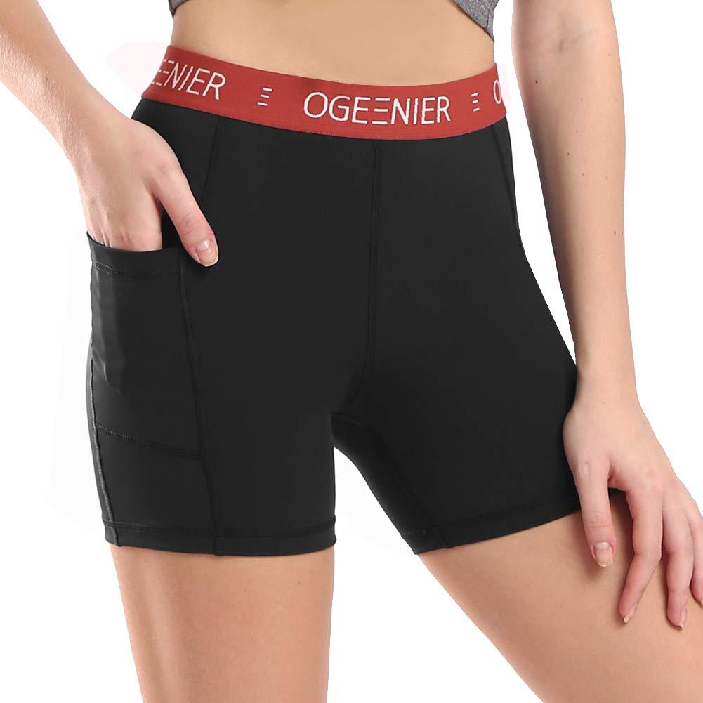 Ogeenier Women's 5 inch High Waist Yoga Shorts Workout Running Training Shorts with Pockets Tummy Control