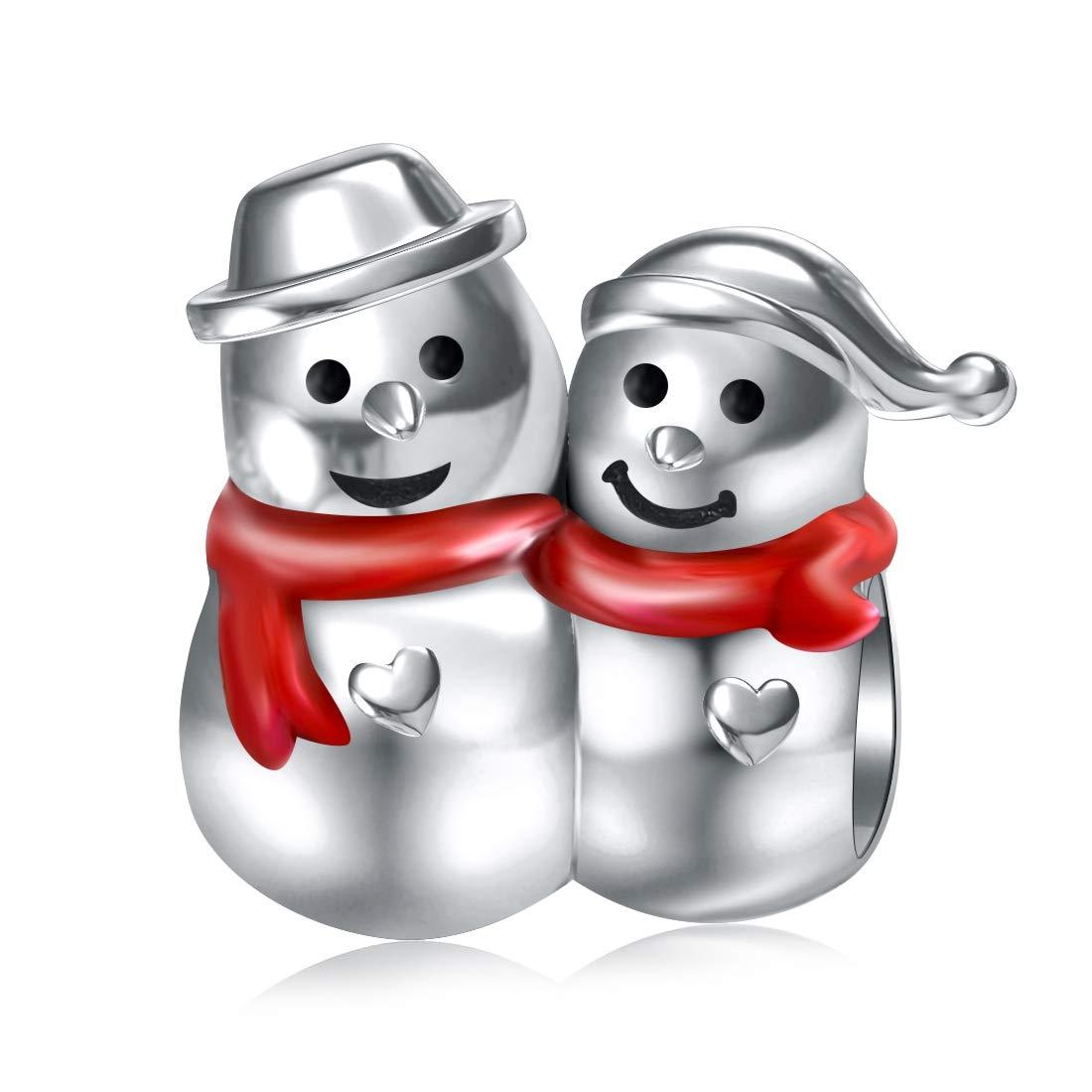 JIAYIQI Christmas Snowman Charm Fit Pandora Charms Bracelets,925 Sterling Silver Xmas Gifts Bead Fit Bracelet