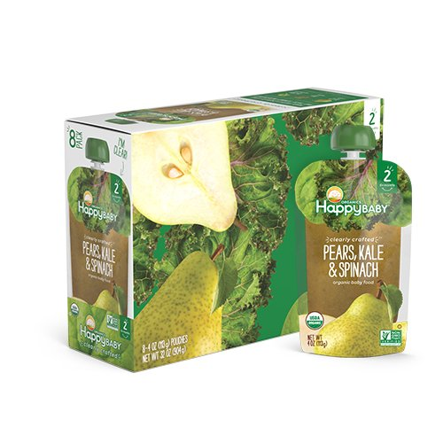 Happy Baby Organic Clearly Crafted Stage 2 Baby Food, Pears/Kale/Spinach, 4 Ounce (Pack of 16)