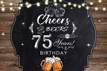 Baocicco 5x4ft Polyester Photography Backdrop for 75th Birthday Party Background Cheers and Beers to 75 Years Birthday Backdrop Beer Mugs Shiny Bulbs Wood Plank Black Board Photo Props