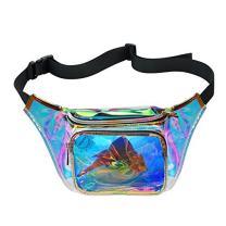 Water Resistant Shiny Neon Fanny Bag for Women Rave Festival Hologram Bum Travel Waist Pack (Multicolor)