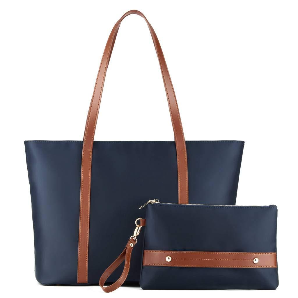 Plambag Women's Tote Bag for Work, Nylon Water Resistant Handbag Set with Wristlet Navy Blue
