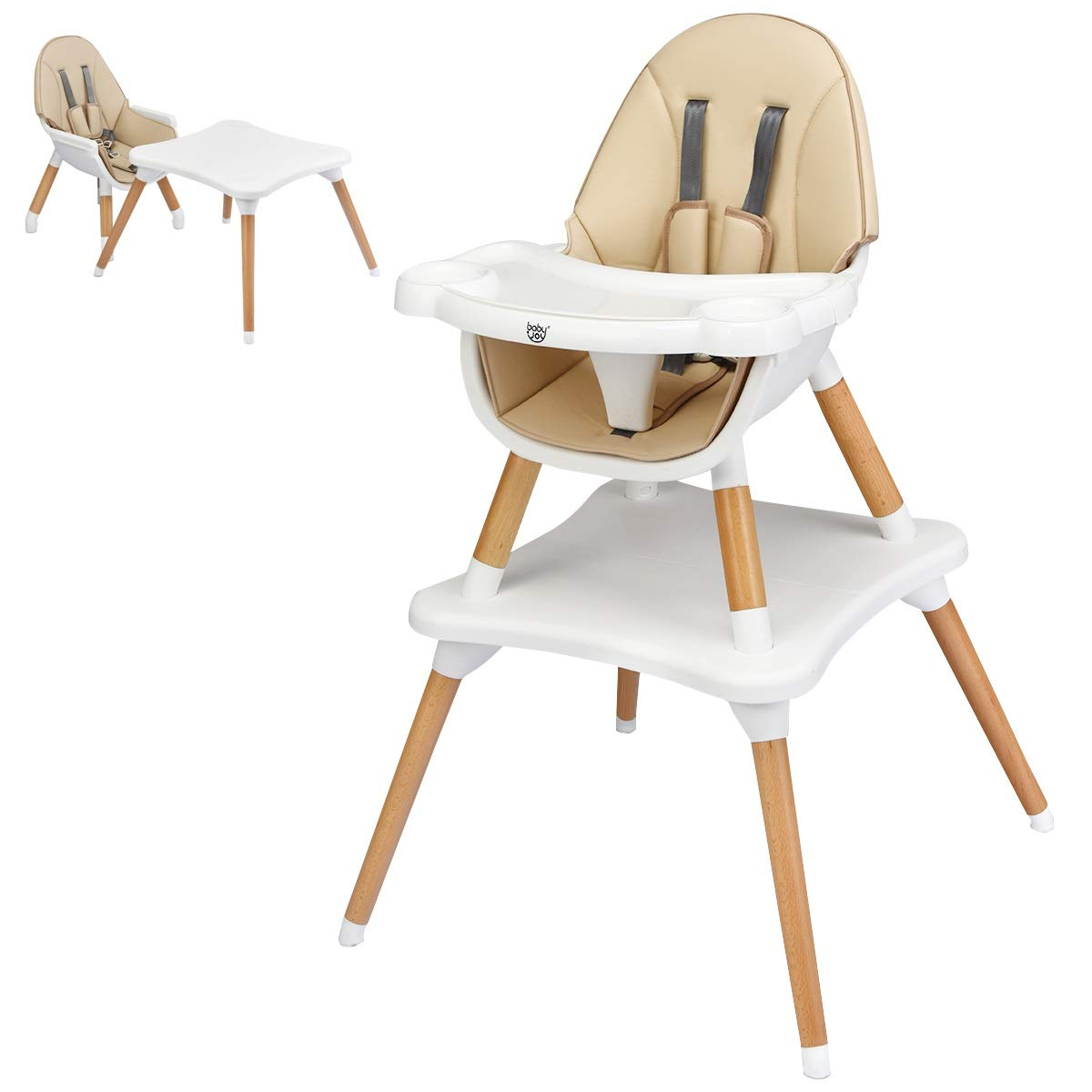 BABY JOY 5 in 1 High Chair, Baby Eat & Grow Convertible High Chair/Booster Seat/Toddler Chair & Table, Infant Wooden Dining Chairs w/5-Point Seat Belt, Removable 4-Position Tray & PU Cushion (Khaki)