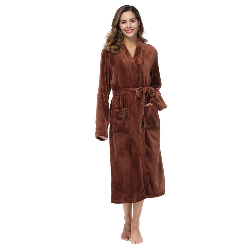 RONGTAI Spa Flannel Robe Soft Collar Bathrobe for Adults Women Girls