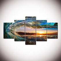 """5D DIY Diamond Painting Kits,5Sets of Splicing Full Drill Cube Round Rhinestone Embroidery Cross Stitch Picture for Wall Decorations (Wave&Sunset, 37.5""""18""""/95cm45cm)"""