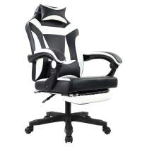 KKTONER Ergonomic Gaming Chair for E-Sport Racing Computer Swivel Height Adjustable with Armrest High Back Headrest and Lumbar Support (White)