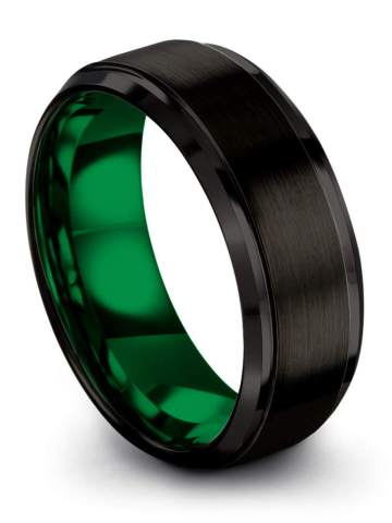 Free Personalized Custom Engraving Wedding Band Unique Promise Ring Unisex Fashion Accessory Black and Green Mens Ring