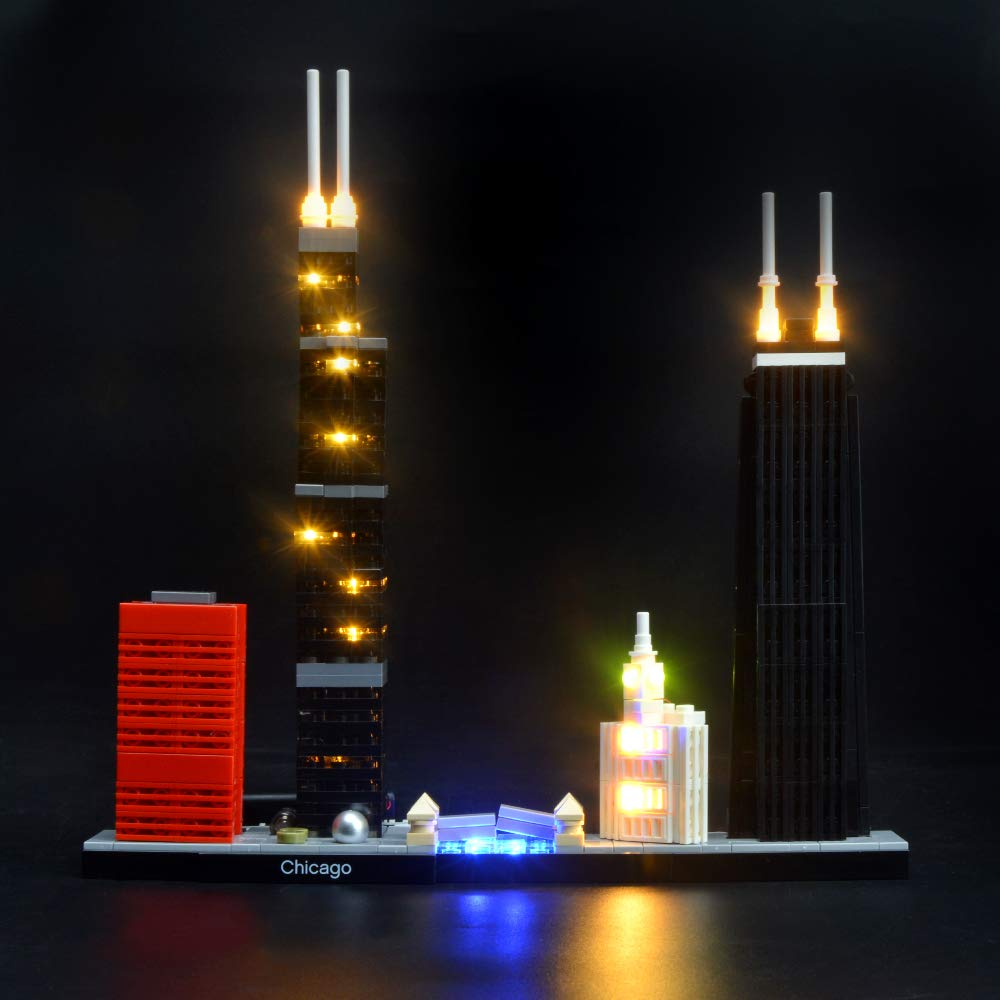 BRIKSMAX Led Lighting Kit for Architecture Chicago Skyline Set-Compatible with Lego 21033 Building Blocks Model- Not Include The Lego Set