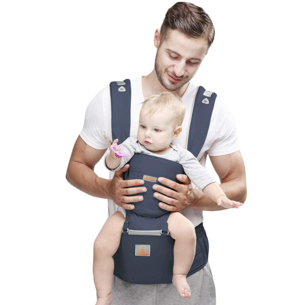 JooBebe Baby Carrier 6 in 1 Usage Front Back Infant Carrier, Soft Shoulder Strap Hip Seat Pad, 360 Ergonomic Protective, Breastfeeding Cover for All Seasons, 0-36 Months (Dark Blue)