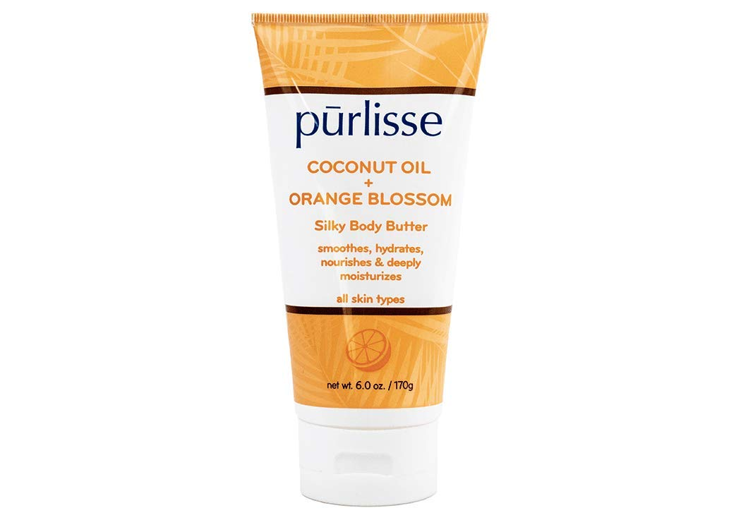 purlisse Coconut Oil + Orange Blossom Silky Body Butter - Natural Moisturizer Cream for All Skin Types - Applying Treatment Deeply Hydrates, Nourishes & Moisturizes Skin, 6 Oz