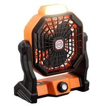 USB Powered Desk Fan,7800mAh Portable Rechargeable Camping Lantern Fan Battery Operated Personal Cooling Table Fan with Light 270° Rotatable Stepless Speed Enhanced Airflow for Tents Home Outdoor