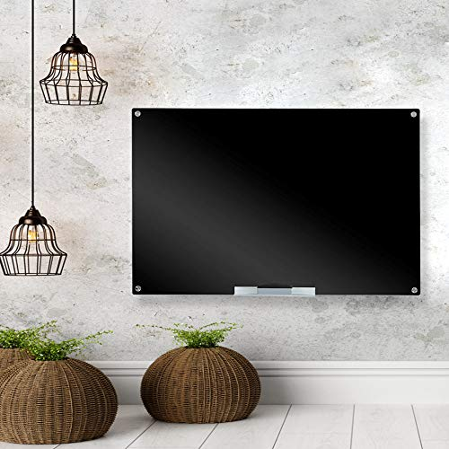Glass Blackbard,Magnetic Dry Erase Board, Includes Blackboard, 2 Markers Aluminum Marker Tray (Black, 31 1/2 x 47 1/5 Inches)