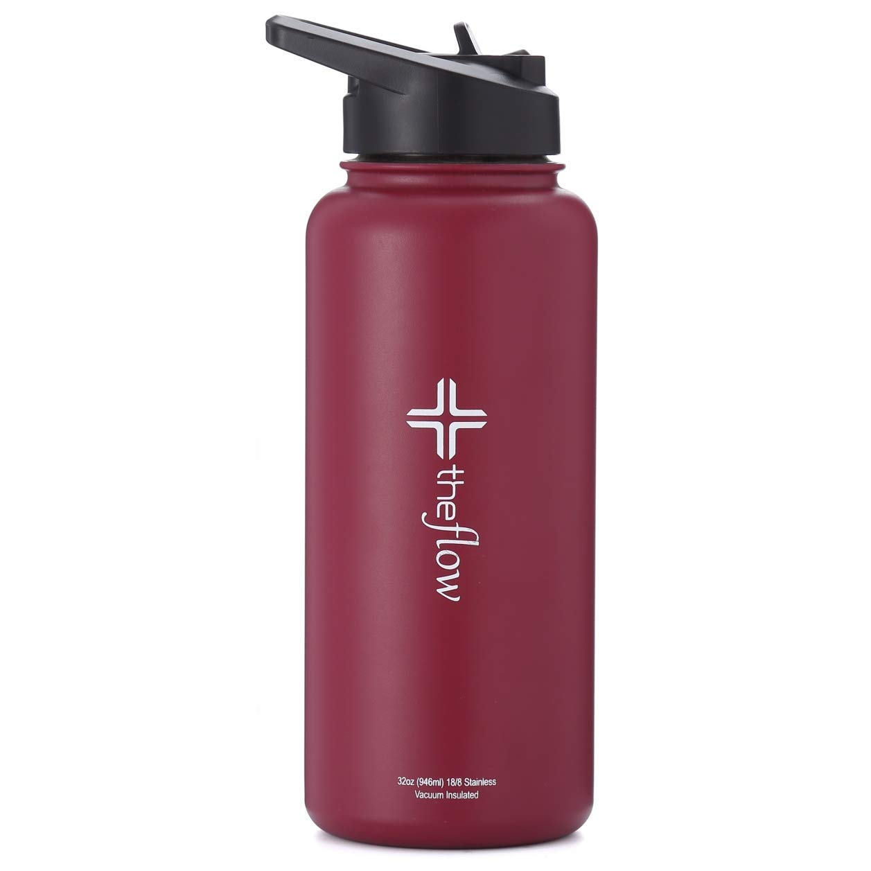 theflow Insulated Water Bottle Large 32oz Stainless Steel Hydro Vacuum Flask with Leakproof Straw Lid/Coffee Flip Lid/Carabiner Lid, Double Wall Sports & Travel Metal Modern Tumbler for Hot/Cold Drink