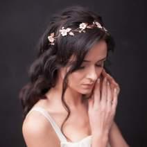Asooll Wedding Flower Headband Bride Crystal Hair Vine Bride Leaf Headpiece Accessories for Women and Girls (Silver)