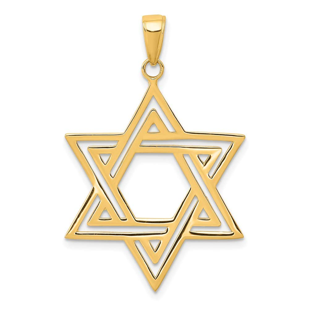 14k Yellow Gold Solid Jewish Jewelry Star Of David Pendant Charm Necklace Religious Judaica Fine Jewelry For Women Gifts For Her