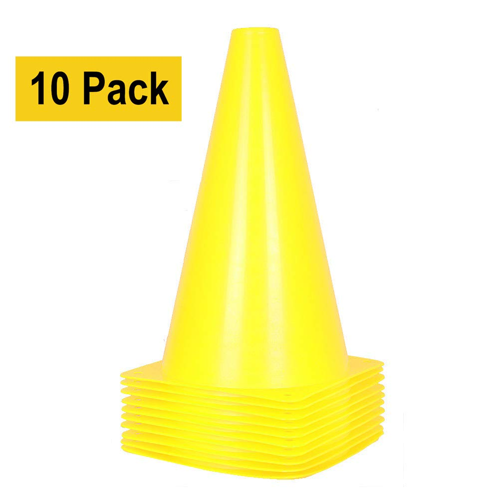 Alyoen 9 inch Traffic Cones - 10 Pack Soccer Training Cones for Outdoor Activity & Festive Events (Set of 10 or 20)- 6 Colors