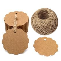 100PCS Brown Craft Scalloped Paper Gift Tags with 100Feet Natural Jute Twines for Birthday Party, Wedding Decoration Gifts, Arts & Crafts