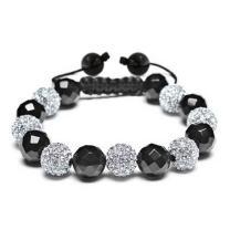 Black Navy Blue Gold Tone Bead Pave Crystal Ball Shamballa Inspired Bracelet Women for Men Cord String Adjustable 12MM