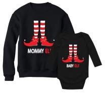 Mommy Elf Sweatshirt & Baby Elf Bodysuit Santa's Helpers Christmas Matching Set