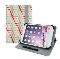 Emartbuy Universal 7 Inch - 8 Inch Pink Stars Multi Angle Folio Wallet Case Cover with Card Slots and Stylus Pen Compatible with Selected Devices Listed Below