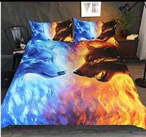 ENCOFT ice and fire Wolf Print 3D Comforter Bedding Sets 3 Pieces,Tencel Cotton Wolf Kids Comforter Sets with 2 Pillowcases
