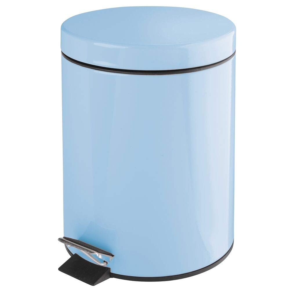 mDesign 1.3 Gallon Round Small Metal Step Trash Can Wastebasket, Garbage Container Bin - for Bathroom, Powder Room, Bedroom, Kitchen, Craft Room, Office - Removable Liner Bucket - Light Blue