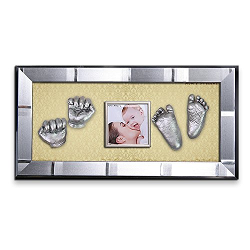 Momspresent Baby Hand Print and Foot Print Deluxe Casting kit with Silver Frame12 Silver
