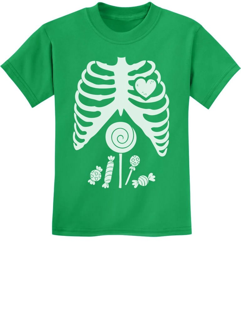 Children Skeleton Candy Rib-cage X-Ray Halloween Funny Kids T-Shirt