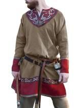 Mens Medieval Tunic Vintage Floral Printed V Neck Costume Shirt Viking Pirate LARP Cosplay Renaissance Top