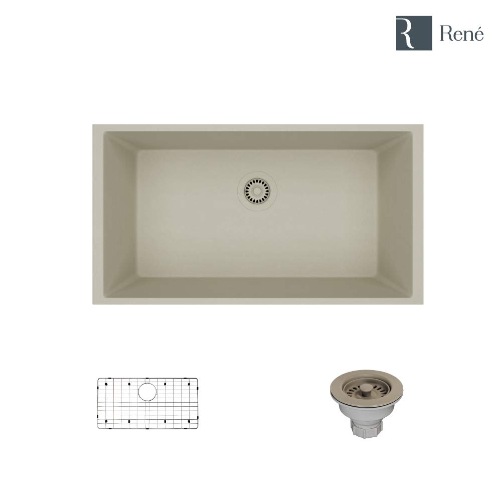 R3-1006-Concrete Single Bowl Undermount Composite Granite Sink, Grid, and Matching Colored Strainer