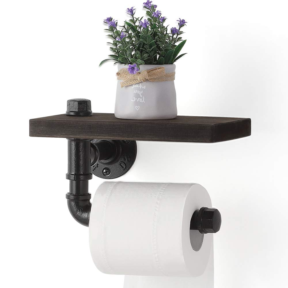 JS NOVA JUNS Toilet Paper Holders, Industrial Paper Tower Holder Wall Mount with Wood Shelf Storage for Bathroom, Washroom, Industrial Paper Toilet Roll Holder, Black Electroplated Pipe Holders