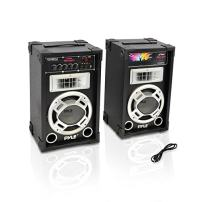 Portable Two Way Speaker System - 800W High Powered Disco Jam Active + Passive Pair Indoor Outdoor Sound PA Speakers w/ USB SD MP3 FM Radio AUX RCA Digital Display - 35mm Stand Mount - Pyle PSUFM835A