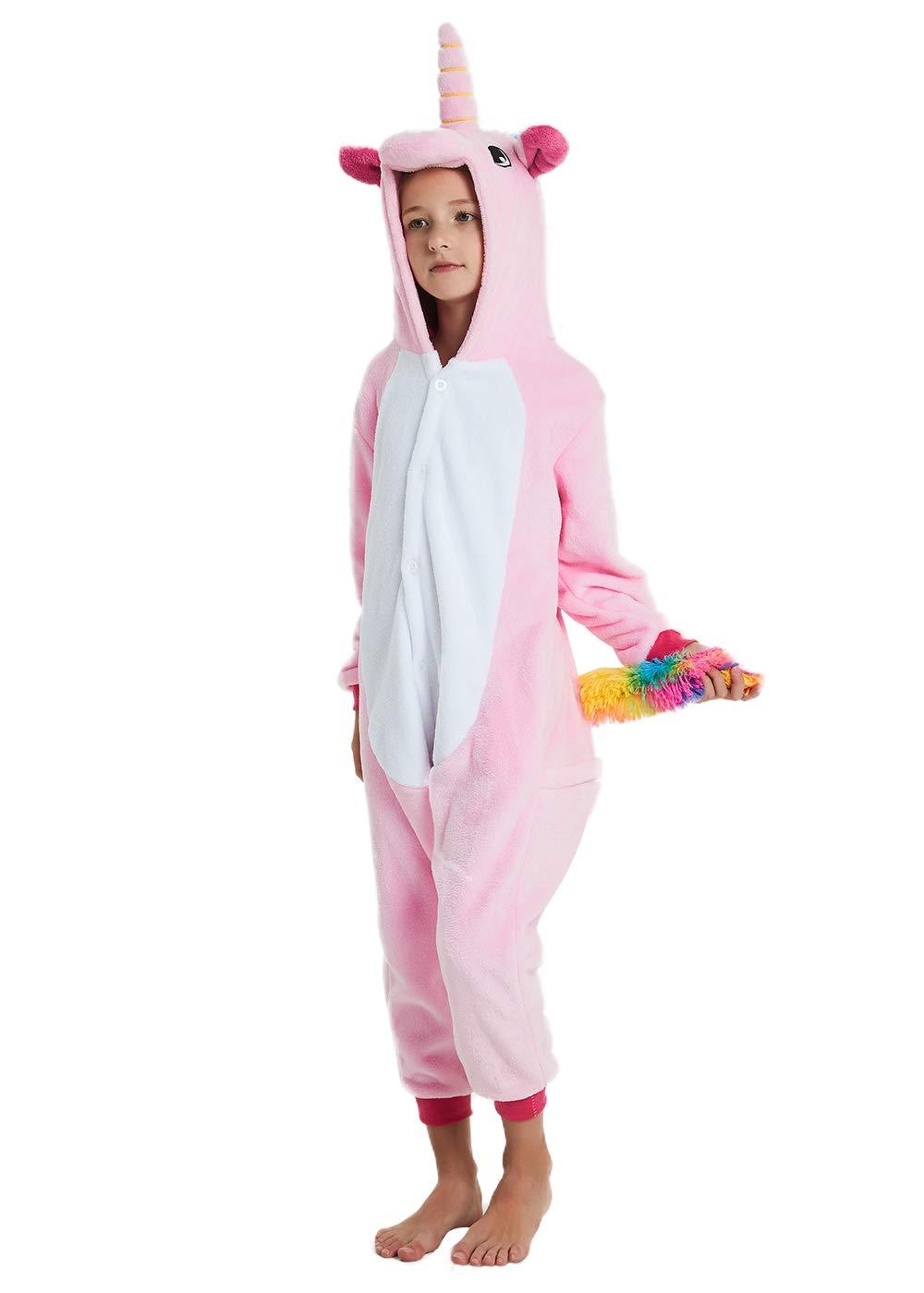 ABENCA Unisex Kids Unicorn Onesie Pajamas Animal Christmas Halloween Cosplay Costume Sleepwear